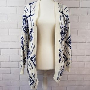 Lush Cozy Long Sleeve Cardigan Sweater Blue White